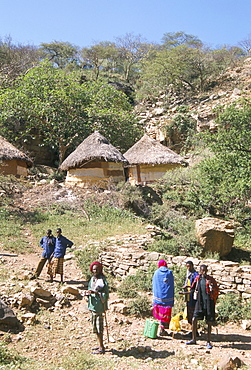 Traditional village houses in village of Sof Omar, Southern Highlands, Ethiopia, Africa