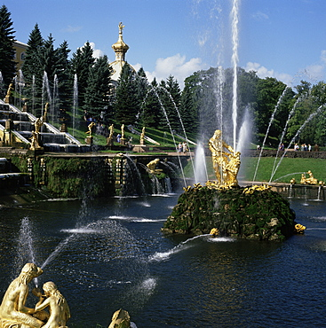 Fountains, Petrodvorets (Peterhof), St. Petersburg, Russia, Europe