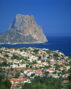 View over the town of Calpe to the rocky headland of Penon de Ifach in Valencia, Spain, Mediterranean, Europe