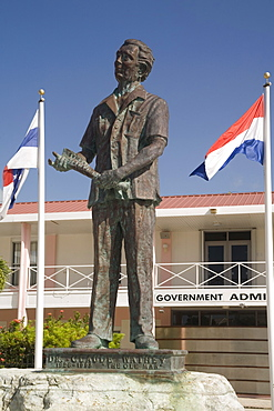 Government Admin Building and statue of Dr. Claude Wathey (The Ole Man), Philipsburg, Dutch St. Maarten, West Indies, Caribbean, Central America