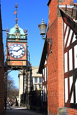 Pedestrian bridge over Eastgate, with clock, Chester, Cheshire, England, United Kingdom, Europe
