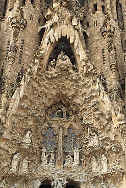 Carvings on facade of Sagrada Familia temple, UNESCO World Heritage Site, Barcelona, Catalunya, Spain, Europe