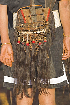 Back view of Naga man's belt with dao holder also known as Dhama (a type of machete) with ceremonial baskets with tassles of human hair, Naga New Year Festival, Lahe village, Sagaing Division, Myanmar (Burma), Asia