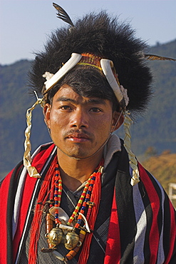 Naga man wearing headdress made of woven cane decorated with wild boar teeth and bear fur, also wearing heirloom head-hunting necklace with two brass heads indicating the owner had 'taken' two heads, Naga New Year Festival, Lahe village, Sagaing Division, Myanmar (Burma), Asia