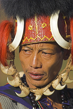 Naga man wearing headdress made of woven cane decorated with wild boar teeth, bear fur, red dyed goats hair with strap of tiger claws, Lahe village, Naga New Year Festival, Sagaing Division, Myanmar (Burma), Asia