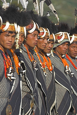Naga tribal groups lined up waiting for the arrival of the General, (the shorts are not part of their traditional clothes but supplied by the govenment, for them to wear in place of their traditional loin cloth), wearing headdresses  made of woven cane decorated with wildboar teeth, bear fur and topped with hornbill feather, with tiger jaw necklaces,  Naga New Year Festival,  Lahe village, Sagaing Division, Myanmar (Burma), Asia