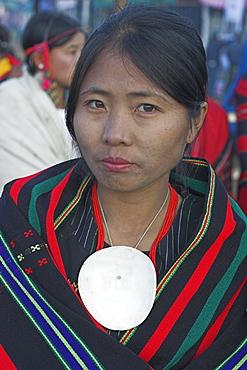 Naga lady wearing conch shell necklace, Naga New Year Festival, Lahe village, Sagaing Division, Myanmar (Burma), Asia