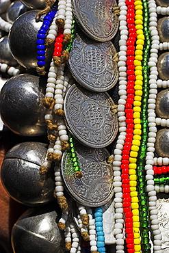 Nun Lin Kong  village (Akha Tribe), detail of Akha ladies hat, Kengtung (Kyaing Tong), Shan State, Myanmar (Burma), Asia
