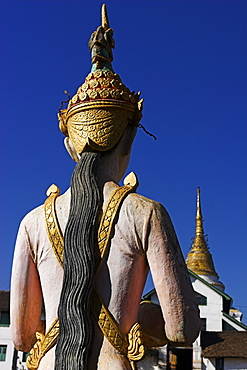 Statue opposite  Wat Jong Kham thought to date from the 13th century, Kengtung (Kyaing Tong), Shan State, Myanmar (Burma), Asia