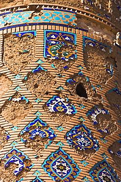 Tilework and mortar hole on minaret beside Gaur Sahd's mausoleum, The Mousallah Complex, Herat, Herat Province, Afghanistan, Asia