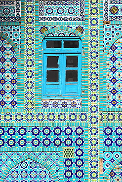 Tiling around blue window, Shrine of Hazrat Ali, Mazar-i-Sharif, Balkh, Afghanistan, Asia