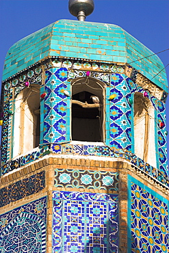 Famous white pigeon in minaret, Shrine of Hazrat Ali, who was assassinated in 661, Mazar-I-Sharif, Afghanistan, Asia
