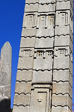 Intricate carvings and false door at the base of King Ezana's stele, the biggest stelae still standing, 24m high, Northern Stelae Park, Aksum, Ethiopia, Africa