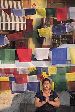 A woman praying during Lhosar (Tibetan and Sherpa New Year festival), Bodhnath Stupa, Bagmati, Kathmandu, Nepal, Asia