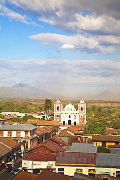 View from Leon Cathedral looking across rooftops towards Iglesia Dulce Nombre de Jesus El Calvario, Leon, Nicaragua, Central America
