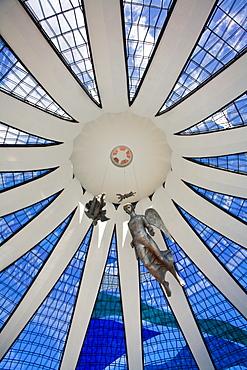Interior of Metropolitan Cathedral of Brasilia designed by architect Oscar Niemeyer, Brasilia, Brazil, South America