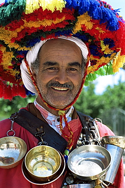 Portrait of a water seller, Djemaa el Fna, Marrakesh, Morocco, North Africa, Africa