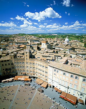 View over rooftops from the Torre Mangia in Piazza del Campo, Siena, Tuscany, Italy, Europe