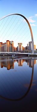 Millennium Bridge and Baltic Arts Centre reflecting in River Tyne, Quayside, Newcastle upon Tyne, Tyne and Wear, England, United Kingdom, Europe