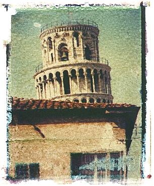 Polaroid Image Transfer of Leaning Tower of Pisa, Pisa,Tuscany, Italy, Europe