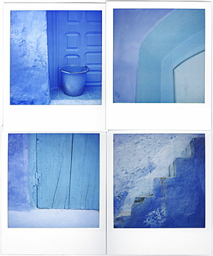 Montage of four Polaroid images of blue walls, doors and steps, Chefchaouen, Morocco, North Africa, Africa