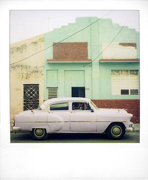 Polaroid of purple classic American car, Cienfuegos, Cuba, West Indies, Central America