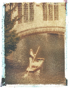 Polaroid Image Transfer of man punting tourists in traditional wooden boat (punt) on River Cam, Cambridge, Cambridgeshire, England, United Kingdom, Europe