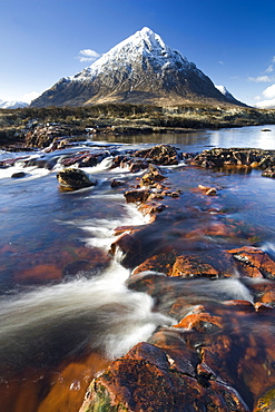 Winter view over River Etive towards snow-capped Buachaille Etive Mor, Rannoch Moor, near Fort William, Highland, Scotland, United Kingdom, Europe