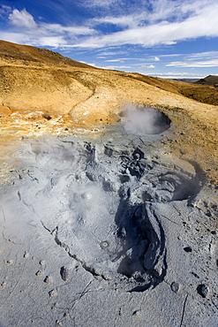 Boiling mudpools in geothermal area on Reykjanes Peninsula, near Keflavik, Iceland, Polar Regions