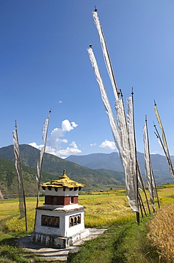 Chorten and prayer flags in the Punakha Valley near Chimi Lhakhang Temple, Punakha, Bhutan, Himalayas, Asia