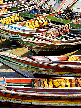 Traditional ferry boats that cross the Irrawaddy River from Mawtin Jetty to Dalah Township, Yangon (Rangoon), Myanmar (Burma), Asia