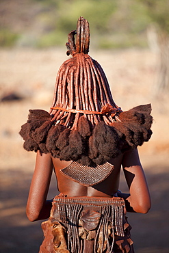 Rear view of young Himba woman showing traditional leather clothing and jewellery, hair braiding and skin covered in Otjize, a mixture of butterfat and ochre, Kunene Region (formerly Kaokoland) in the far north of Namibia