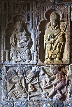 Carved detail on the stone tomb of Alasdair Crotach, one of the Chiefs of the MacLeods of Harris, inside the 15th century church of St. Clements, Rodal, Isle of Harris, Outer Hebrides, Scotland, United Kingdom, Europe