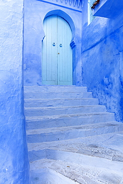 Walls and steps in the old town of Chefchaouen (Chaouen)  (The Blue City), Morocco, North Africa, Africa