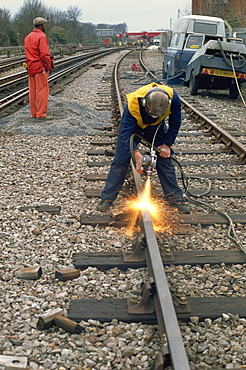 Metal spray coating rails, London Transport, London, England, United Kingdom, Europe