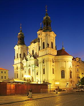 Church of St. Nicholas, illuminated at night, Prague, Czech Republic, Europe - 350-1497