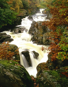 Waterfall on Afon Llugwy, Betws-Y-Coed, Wales, United Kingdom, Europe - 350-396