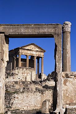 The Capitol, Roman ruins at Dougga, UNESCO World Heritage Site, Tunisia, North Africa, Africa