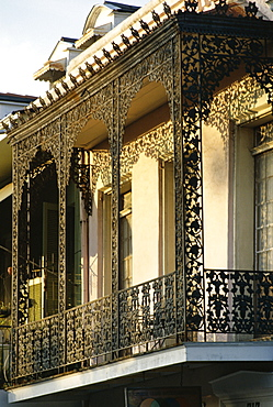 Wrought ironwork on balcony, French Quarter, New Orleans, Louisiana, United States of America (U.S.A.), North America
