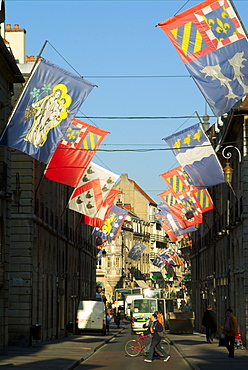 France, Cote d'Or, Dijon, flags/banners