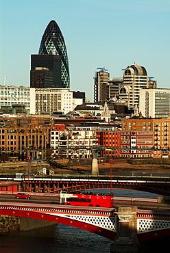 UK, London City, Blackfriars Bridge, Gherkin & Lloyds building