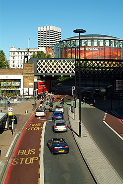 UK, London, Waterloo, Imax cinema with road in foreground
