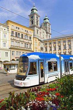 Tram and old cathedral, Hauptplatz, Linz, Austria, Europe