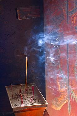 Incense smoke, Tin Hau temple, Sai kung, Hong Kong, China, Asia