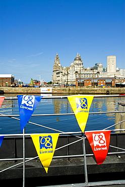 Skyline and docks, Liverpool, Merseyside, England, United Kingdom, Europe