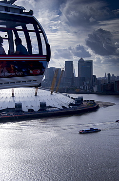 View over O2 Arena with Canary Wharf in background, London, England, United Kingdom, Europe