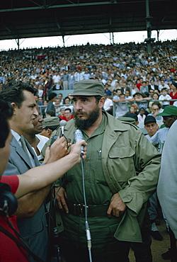 Fidel Castro initiating the basketball season in 1965, Havana, Cuba, West Indies, Central America