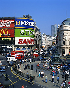 Aerial view over Piccadilly Circus, including the statue of Eros, the Greek God of Love, erected in 1892 in memory of the Earl of Shaftesbury, London, England, United Kingdom, Europe