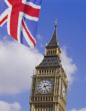 Big Ben and Union Jack flag, Houses of Parliament, Westminster, London, England, UK, Europe