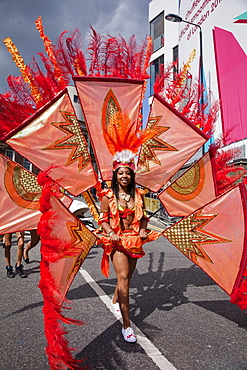Female participant at the 2012 Notting Hill Carnival, Notting Hill, London, England, United Kingdom, Europe